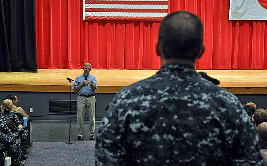 Secretary of the Navy Ray Mabus answers a question from a sailor at an all-hands meeting  July 16, 2012 at Yokosuka Naval Base, Japan.
