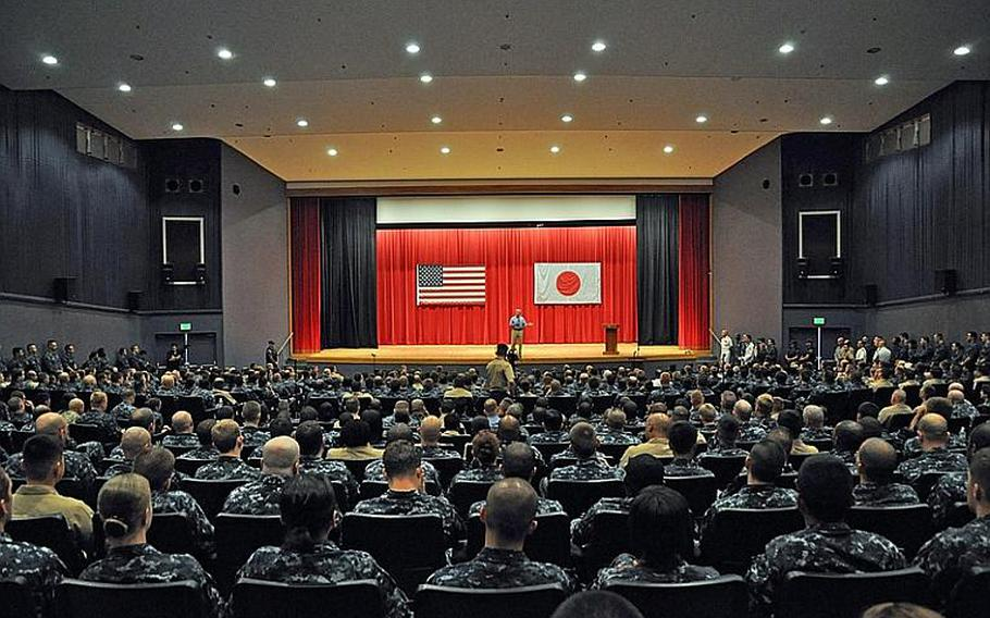 Secretary of the Navy Ray Mabus speaks to sailors at an all-hands meeting at Yokosuka, Japan, on July 16, 2012. Mabus spoke about several topics, including the Navy's plan to use 50 percent alternative fuels in its fleet by 2020.