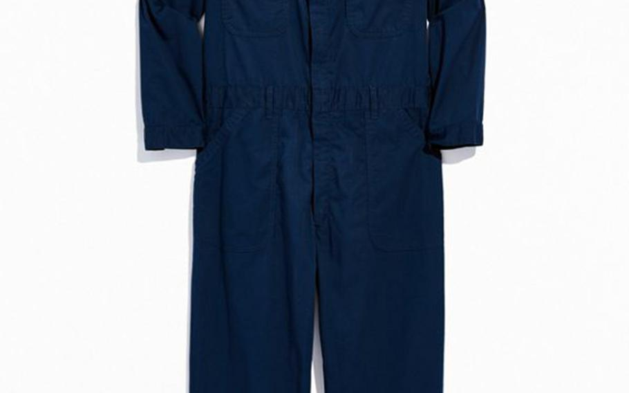This screenshot from the Urban Outfitters website shows a pair of U.S. Navy-inspired coveralls that were on sale for $120.