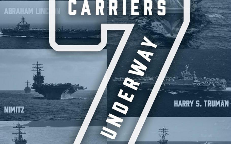 The Navy trumpeted on social media Friday, May 22, 2020, that seven of its 11 aircraft carriers are now underway.