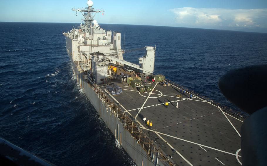 The USS Carter Hall conducts deck qualifications in the Atlantic Ocean near Honduras, Sept. 17, 2019.