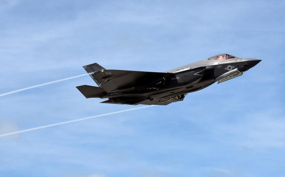 An F-35C Lightning II Joint Strike Fighter takes off at Naval Air Station Key West's Boca Chica Field, in November 2016. Two pilots recently were the first to graduate from the Navy Strike Fighter Tactics Instructor course, popularly known as TOPGUN, while flying F-35C jets.