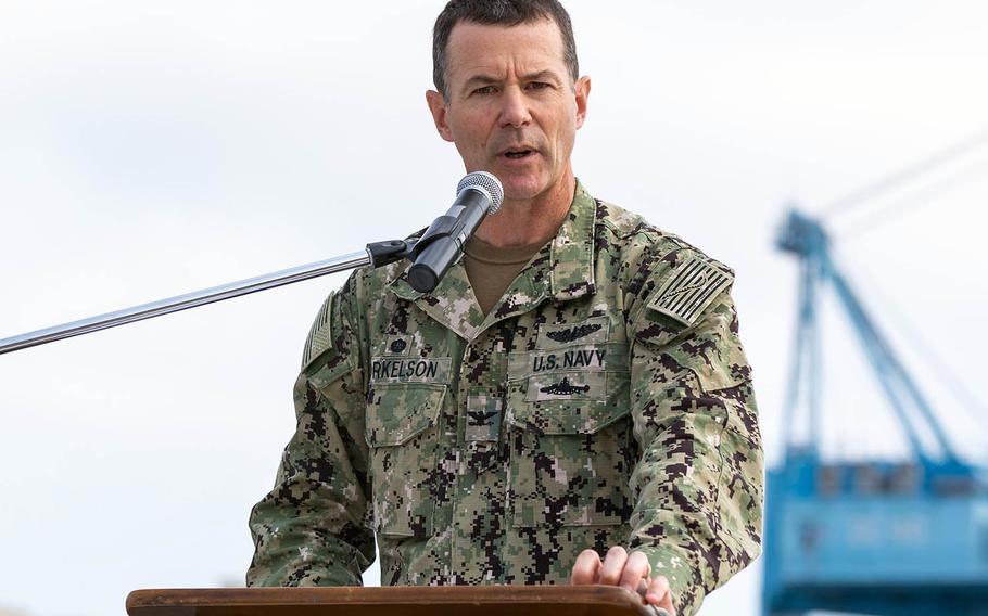Capt. Kai Torkelson, commander of Norfolk Naval Shipyard in Virginia, speaks during an event at the shipyard on June 9, 2020.
