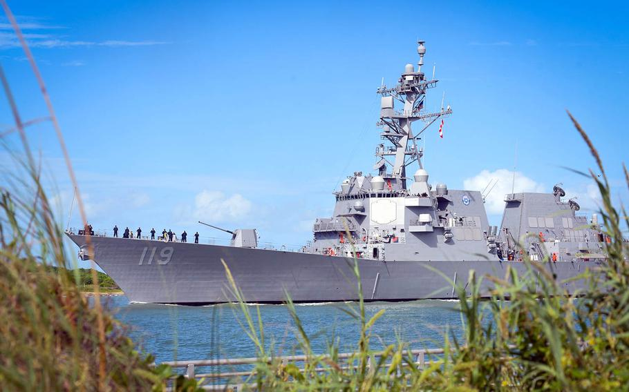 The guided-missile destroyer USS Delbert D. Black arrives at Port Canaveral, Fla., for its commissioning ceremony, Thursday, Sept. 26, 2020.