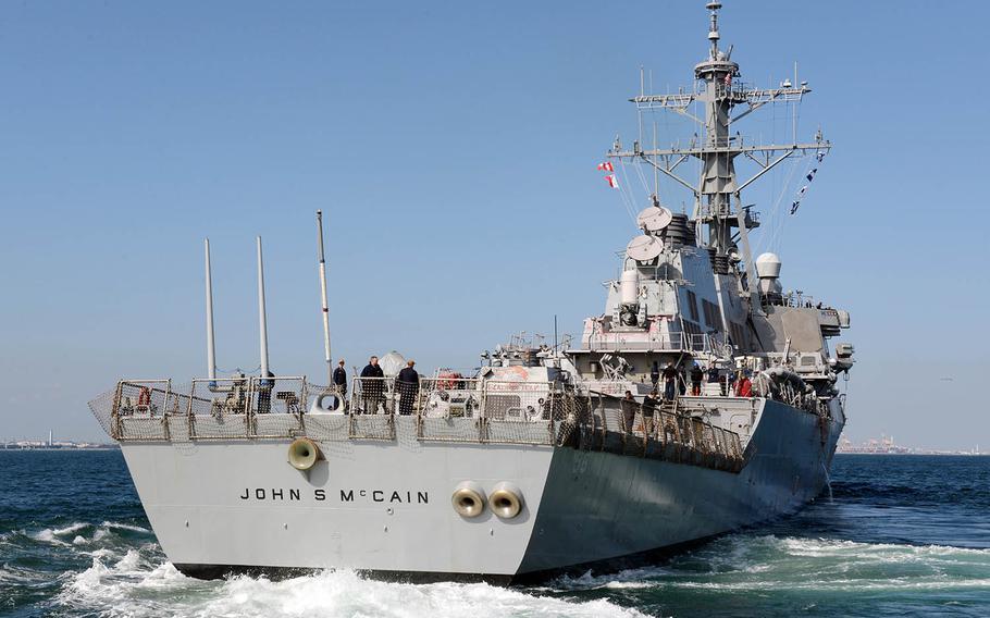 The guided-missile destroyer USS John S. McCain departs Yokosuka Naval Base, Japan, Oct. 28, 2019.