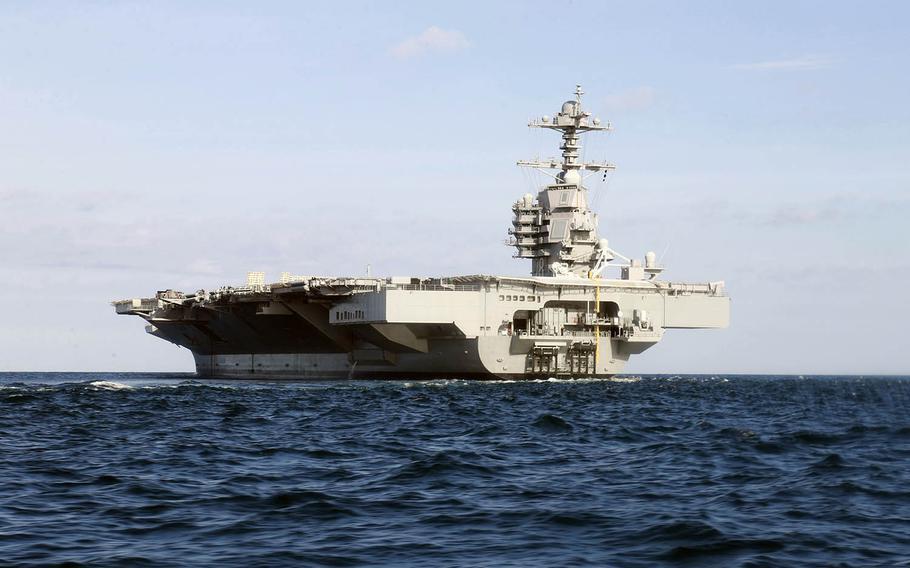 USS Gerald R. Ford steams through the Atlantic Ocean on Nov. 7, 2019.