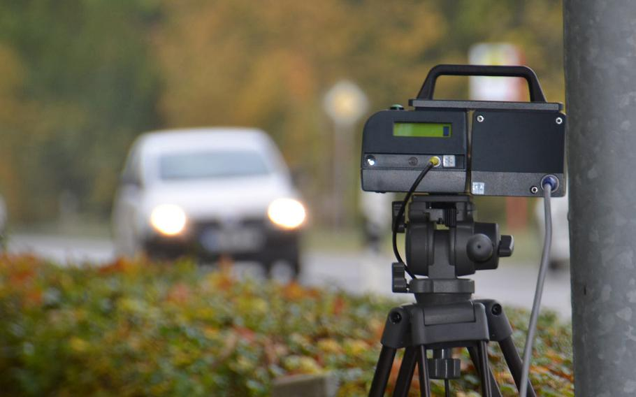 An automatic speed camera enforces the speed limit on a German roadside. Higher fines for speeding and illegal parking will take effect in Germany in November.
