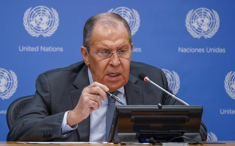 Russian Foreign Minister Sergey Lavrov speaks to reporters during a news conference during 76th session of the United Nations General Assembly, Saturday, Sept. 25, 2021 at United Nations headquarters.