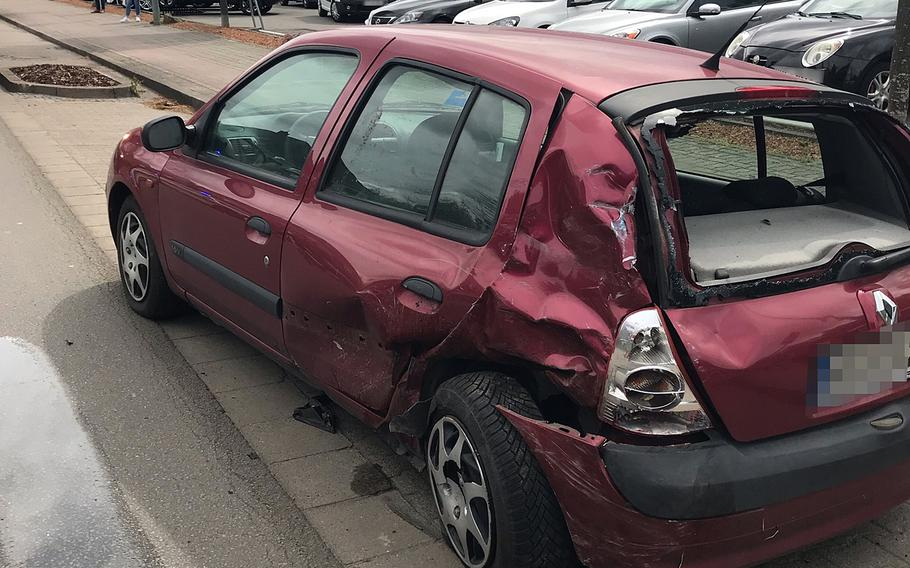 A U.S. military policeman lost control of his vehicle May 21, 2021, hit this parked car and then overturned, blocking Kaiserstrasse in Kaiserslautern, Germany, near Pulaski Barracks, local police said.  Police department Westpfalz