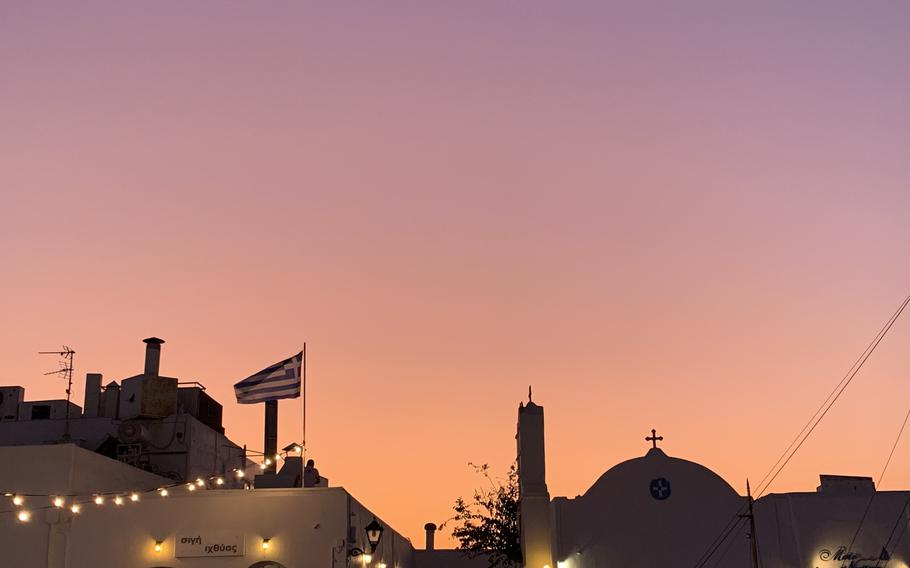 The sun sets in Naousa, one of Paros's more lively towns for dining, drinking and shopping.