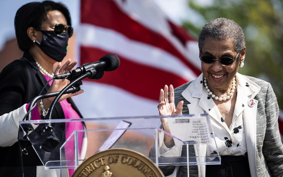Washington, D.C,. Mayor Muriel Bowser, left, and Del. Eleanor Holmes Norton, D-D.C., in April 2021. Norton has been pushing for a measure allowing the city to control its own National Guard.