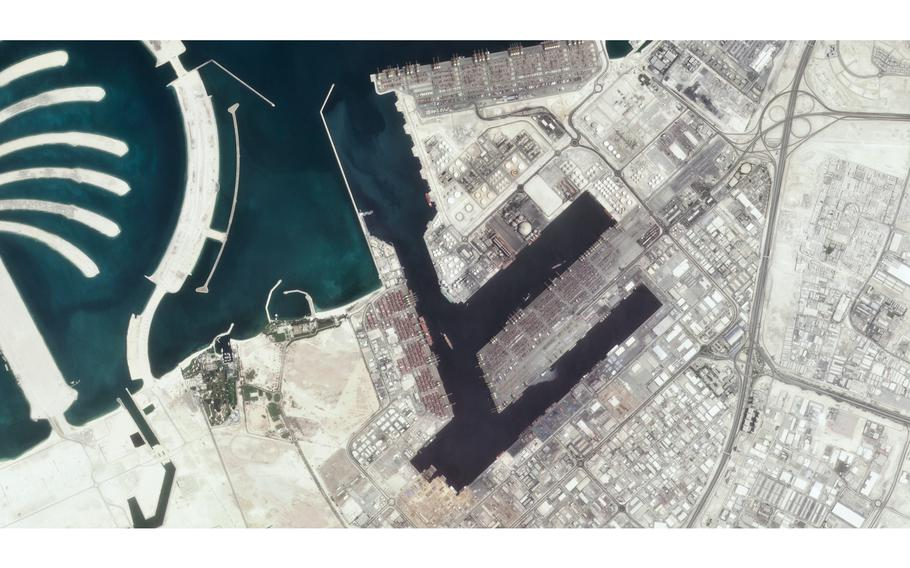 The Jebel Ali Port is seen early Wednesday, July 7, 2021, in Dubai, United Arab Emirates.