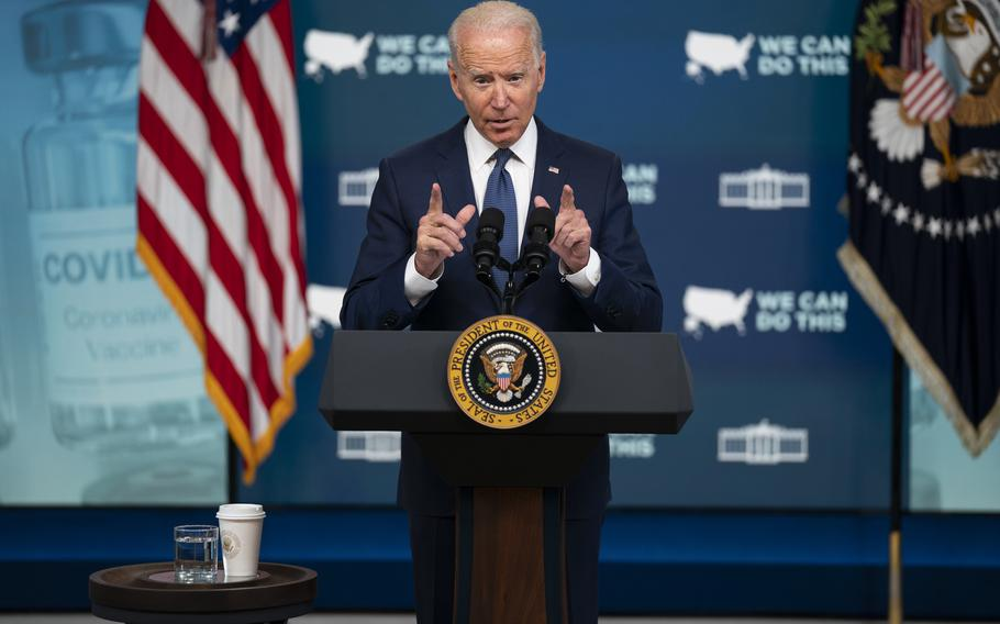 President Joe Biden speaks about the COVID vaccination program during an event in the South Court Auditorium on the White House campus on Tuesday, July 6, 2021, in Washington.