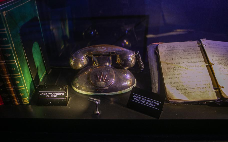 Studio boss Jack Warner's silver-plated phone and phone book on display at Warner Bros.' new tour center.