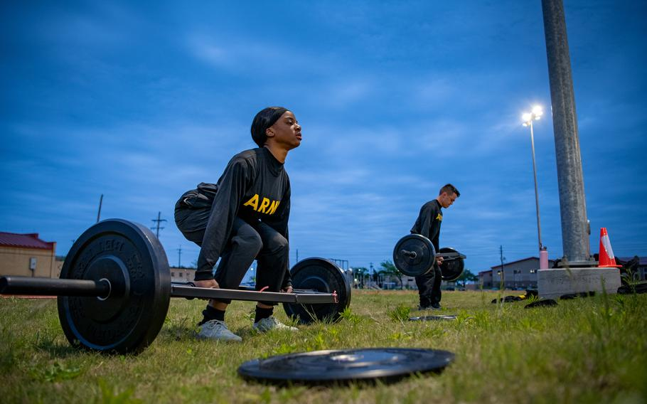 Spc. Lauresa Bruce, of 75th Field Artillery Brigade, Fort Sill, Okla., conducts the Army Combat Fitness Test's maximum deadlift event during a training session on April 22, 2021.