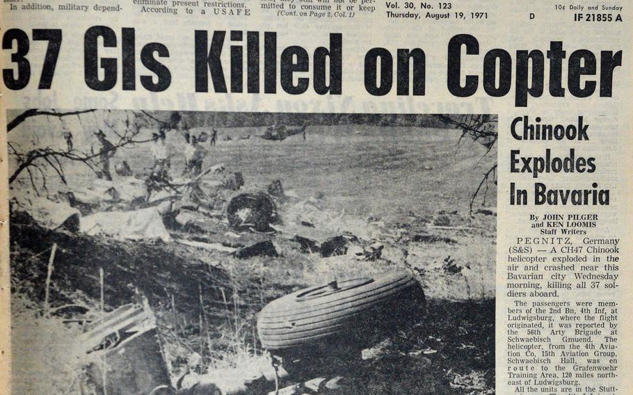 The Stars and Stripes Aug. 19, 1971 front page with the news of a Chinook helicopter crash that killed 37 soldiers in Bavaria the day before. Family members and others recently gathered near Pegnitz, Germany, to pay tribute to the victims on the 50th anniversary of the tragedy.