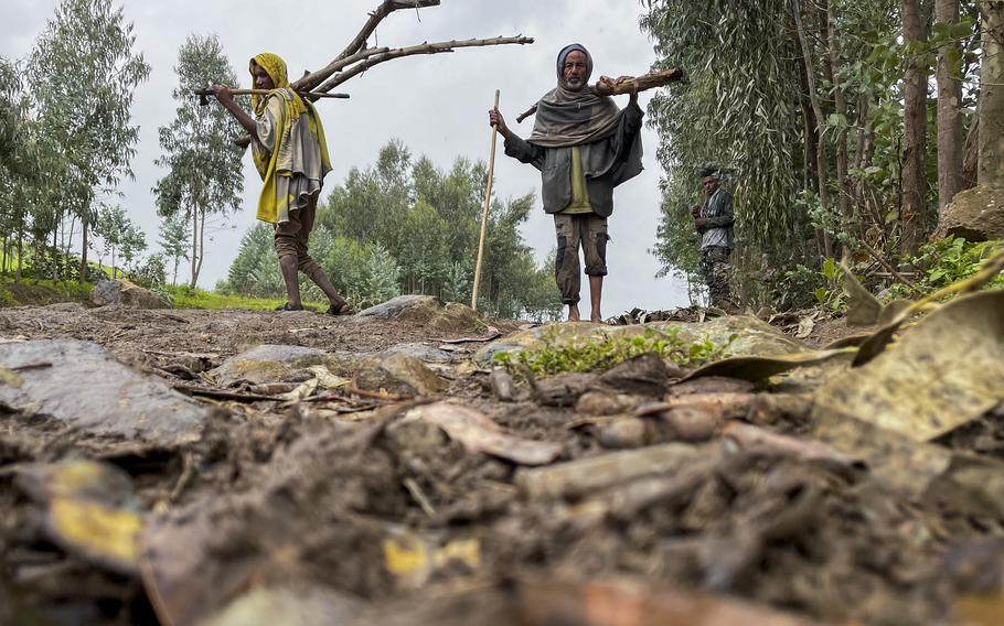 Villagers carry wood on a path near the village of Chenna Teklehaymanot, in the Amhara region of northern Ethiopia Thursday, Sept. 9, 2021.