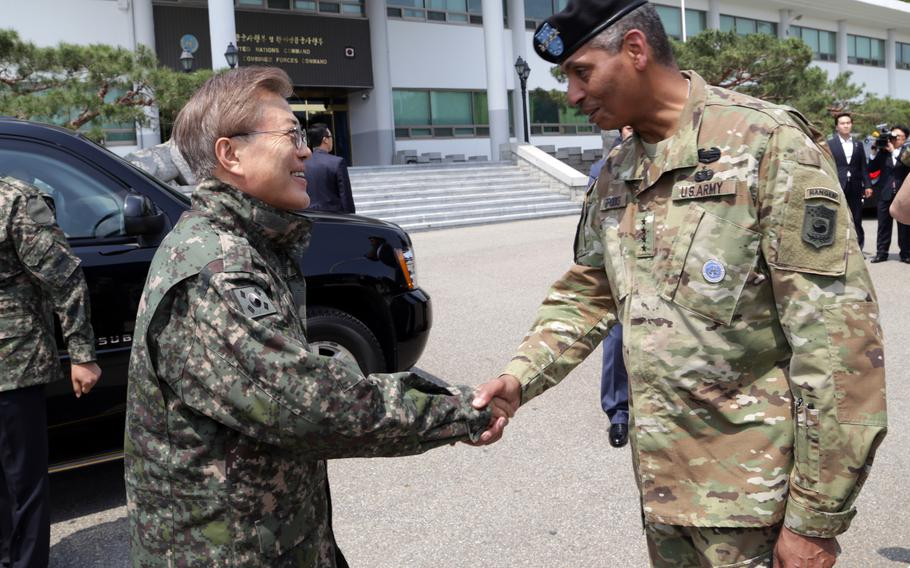 Then-U.S. Forces Korea commander Gen. Vincent Brooks greets South Korean President Moon Jae-in at Yongsan Garrison, South Korea, June 13, 2017.