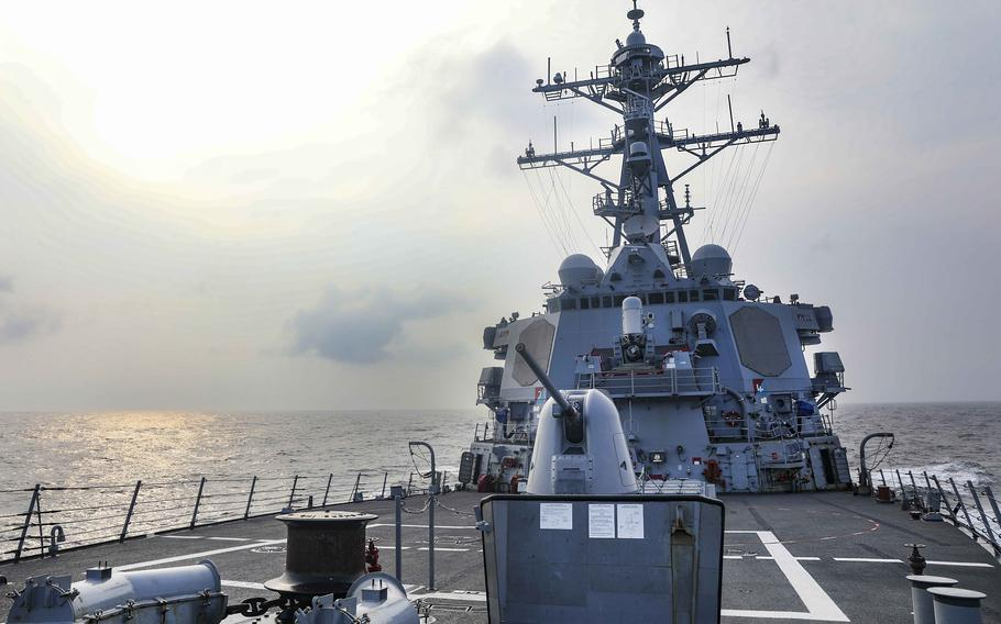 The USS Benfold, a guided-missile destroyer, steams through the Taiwan Strait on Wednesday, July 28, the same day that House lawmakers in Washington, D.C., recommended the Navy build an additional destroyer as part of its proposed 2022 budget.