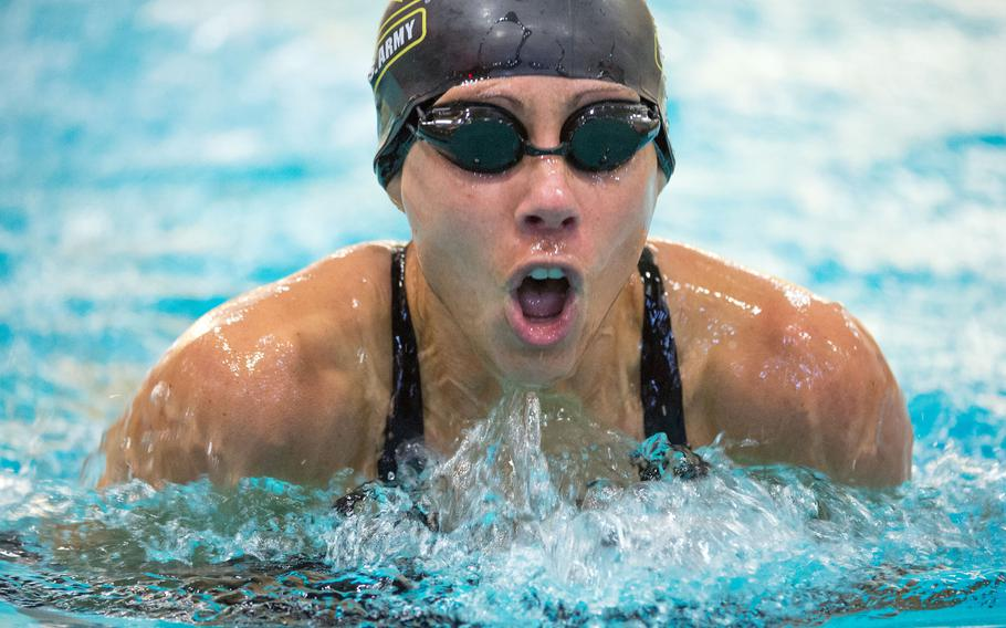 Then-Army Capt. Kelly Elmlinger swims breaststroke during the Warrior Games at the U.S. Military Academy in West Point, N.Y., June 20, 2016.