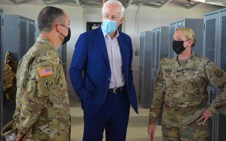 Senator John Cornyn spoke with the leadership of the Texas Military Department on Monday about a new barracks at Camp Swift, Texas, which was built using 3D printing.