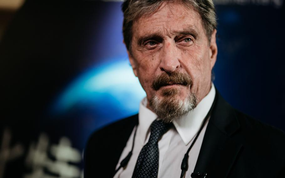 John McAfee, founder of McAfee Associates Inc., during a Bloomberg Television interview in Hong Kong on Sept. 20, 2017.