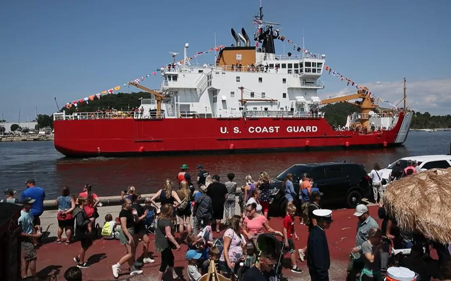 The Mackinaw was one of four Coast Guard cutters to officially port in Grand Haven on Monday as part of this year's festival.