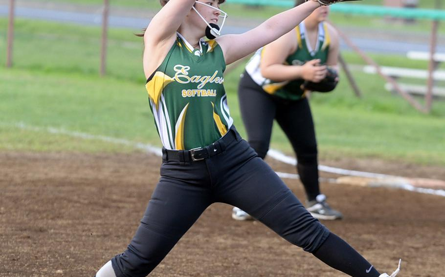 """Brittany Crown, who pitched Robert D. Edgren to the Far East Division II softball tournament title in 2018, served as a """"coach on the field"""" for the Eagles, coach Sarah Richardson said."""