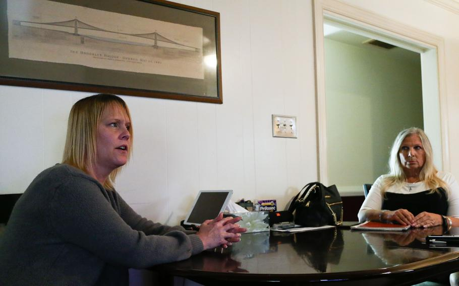 Karen Dwyer Jones (left) and Lynn Jones (right), mother and step-grandmother of Courtney Dwyer, speak with the Daily Press Karen Jones' home in Newport News, Va. They have spearheaded the effort to have Gregory Curtis' remains exhumed from a Florida military cemetery on account of the slaying of Courtney Dwyer in March.