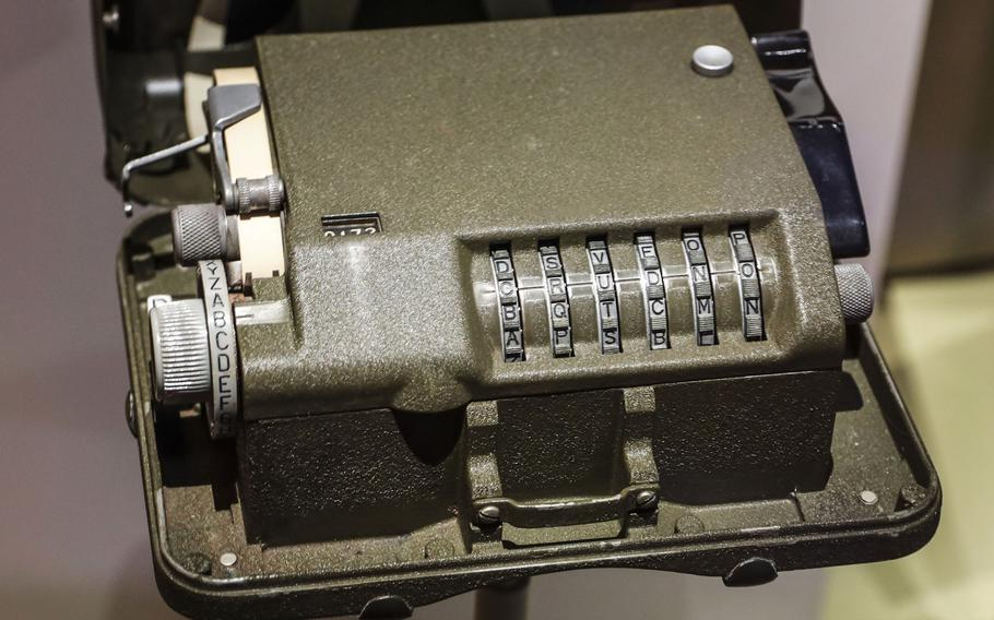 An M-209 Converter, a portable mechanical cipher machine used by the Army during World War II, at the National Museum of the United States Army on its reopening day, June 14, 2021.