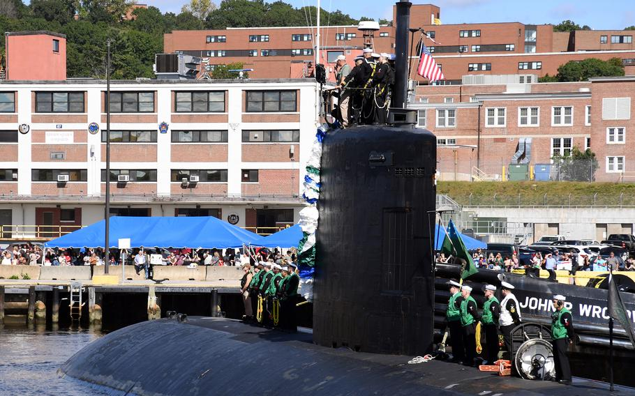 The USS Montpelier, similar to the nuclear-propelled fast-attack subs to be acquired by Australia from the United States, arrives at Naval Submarine Base New London in Groton, Conn., Sept. 19, 2021.