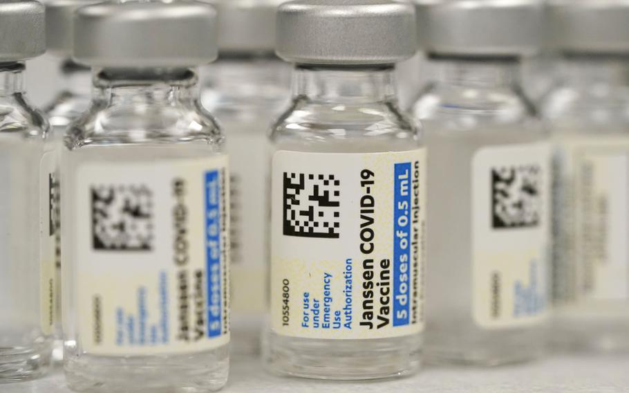 Vials of Johnson & Johnson COVID-19 vaccine are seen at a pharmacy in Denver, Colo., on March 6, 2021. Johnson & Johnson on Thursday, June 10, said that the U.S. Food and Drug Administration extended the expiration date on millions of doses of its COVID-19 vaccine by an extra six weeks.