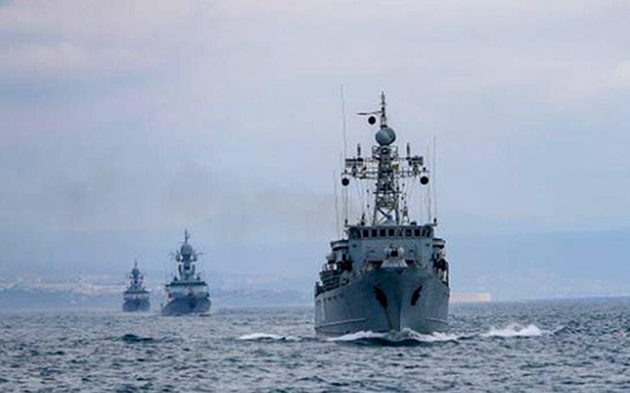 Ships of the Russian Black Sea Fleet train during an exercise in the sea in April 2021. Secretary-General Jens Stoltenberg said in a meeting in Brussels, May 25, 2021, that Russia continues to restrict navigation in the Black Sea, including near the Kerch Strait, which has been a flashpoint for Russian and Ukrainian warships.
