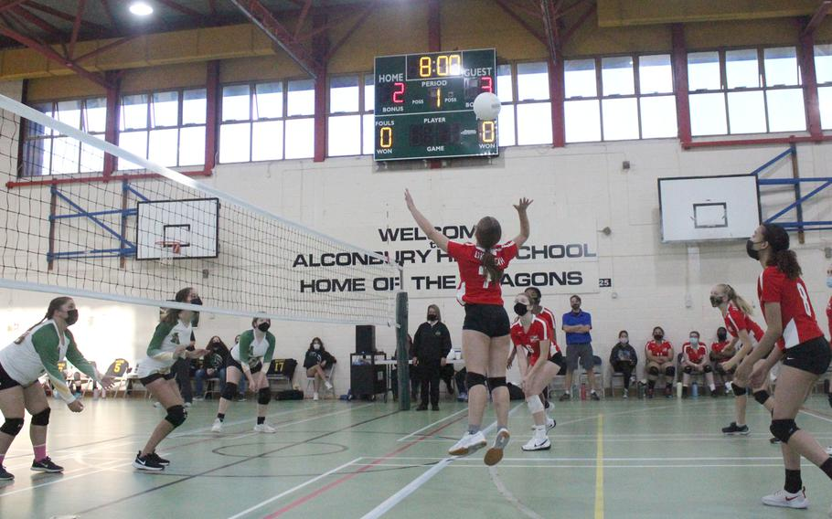 The Lakenheath Lancers girls volleyball team faced off against the Alconbury Dragons on Friday, Oct. 1, 2021 at Alconbury High School. The Lancers swept three straight sets 25-14, 25-7, 25-17 against the Dragons to win the volleyball match.