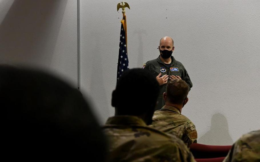 Col. Ryan Keeney, 49th Wing commander, welcomes Task Force-Holloman personnel Aug. 27, 2021, on Holloman Air Force Base, N.M.