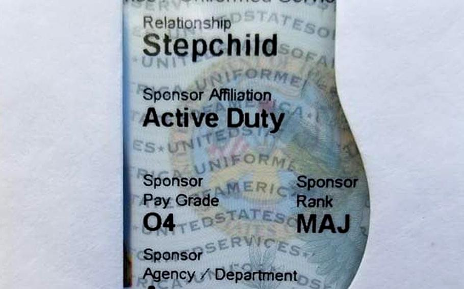 New Defense Department identification cards for military dependents display relationships more prominently than past versions, including the word stepchild for children who are not biological or adopted offspring of their military sponsor.