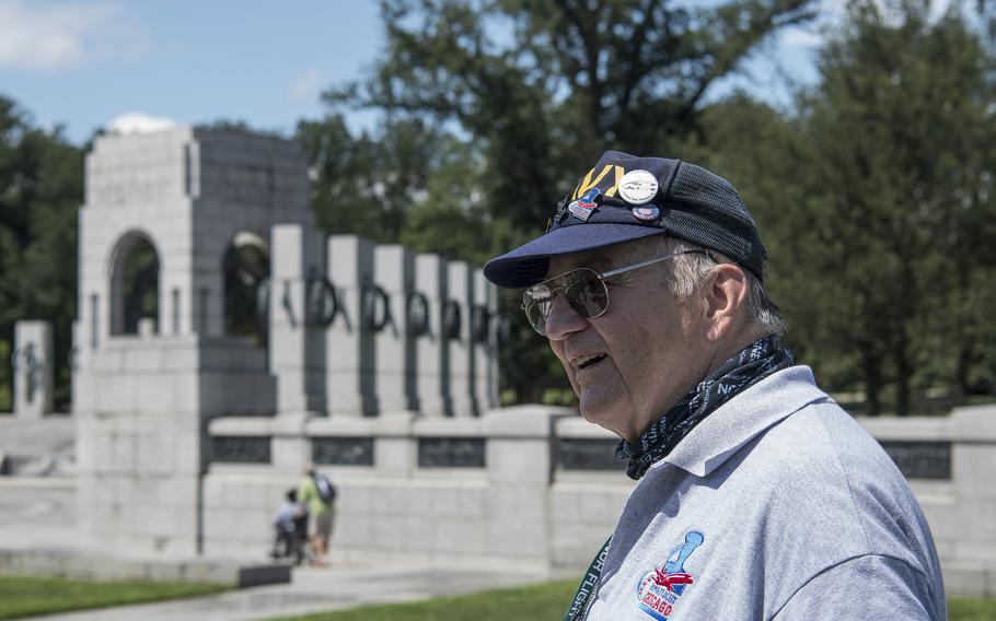 Navy veteran Steve Williams takes in the sights at the World War II Memorial in Washington, D.C., on Wednesday, Aug. 18, 2021, at the conclusion of an Honor Flight ceremony that paid tribute to veterans from World War II, the Korean War and the Vietnam War.