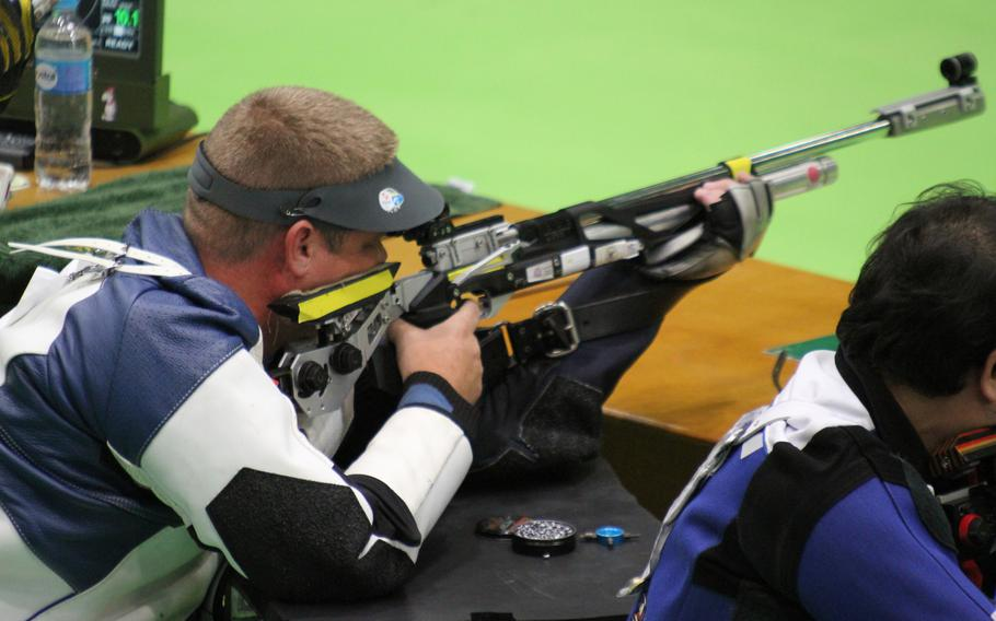 Staff Sgt. John Joss shooting at a  World Shooting Para Sport event at Chateauroux, France, on Sept. 9, 2018.