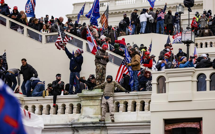 Members of the military participated in the storming of the U.S. Capitol following a rally with President Donald Trump on Wednesday, Jan. 6, 2021, in Washington, D.C., adding to evidence that extremism is fomenting in the military ranks.