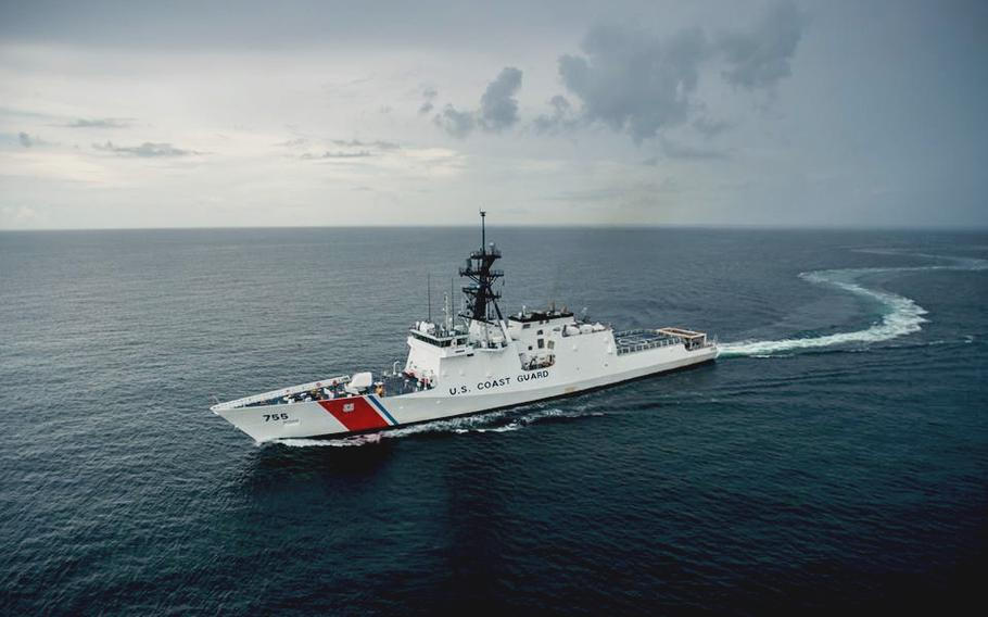 The Coast Guard cutter Munro, shown here in October 2016, arrived Sunday in the Western Pacific for a deployment with the U.S. Navy's 7th Fleet.