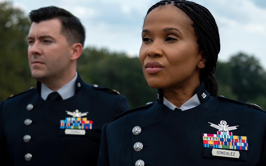 The U.S. Space Force unveiled the Guardian Service Dress prototype uniforms Sept. 21, 2021, during the Air Force Association's 2021 Air, Space & Cyber Conference in Maryland.