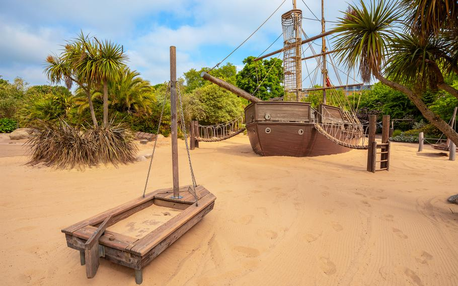 The Diana Memorial Playground in London was inspired by Peter Pan and includes a pirate ship surrounded by sand.