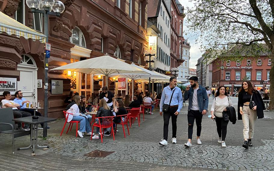 Downtown Kaiserslautern, Germany, in early June 2021. In the area, where tens of thousands of U.S. military personnel and families live, more coronavirus restrictions were to ease starting June 11.