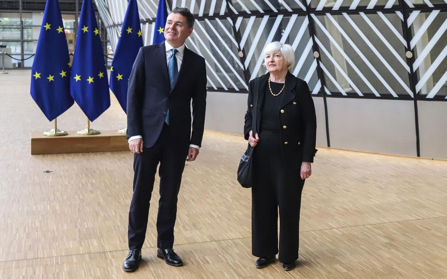 Paschal Donohoe, Ireland's finance minister, left, and Janet Yellen, U.S. Treasury secretary, arrive at a Eurogroup meeting of European Union (EU) finance ministers in Brussels on July 12, 2021.