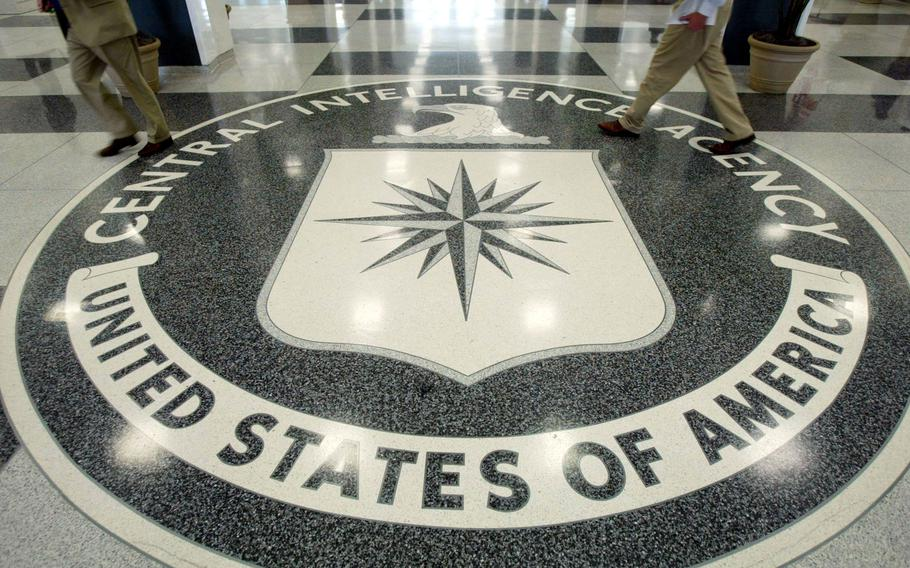 """The CIA symbol on the floor of CIA Headquarters, July 9, 2004, at CIA headquarters in Langley, Va. A panel of experts is focused on identifying the cause and potential mechanisms of """"Havana syndrome."""""""