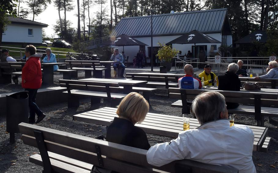 There's plenty of outdoor seating at the Seewooghutte in Ramstein-Miesenbach, Germany. The kiosk is next to a pond and has seating on a terrace overlooking the water. The area also has a playground, and hiking and biking trails.