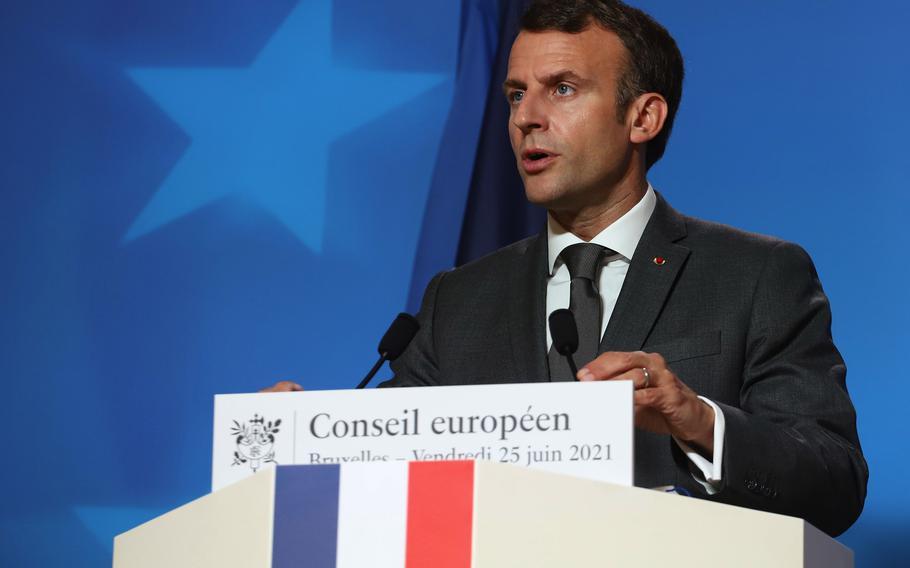 Emmanuel Macron, France's president, speaks during a news conference in Brussels on June 25, 2021.