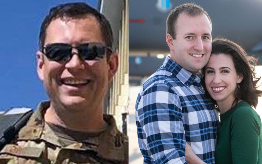 Lt. Col. Paul K. Voss, left, and Capt. Ryan S. Phaneuf, shown here with his wife Megan Murat Phaneuf, died on Jan. 27, 2020, in the crash of a Bombardier E-11A aircraft in Ghazni province, Afghanistan.  U.S. AIR FORCE, JENILYNN PHOTOGRAPHY
