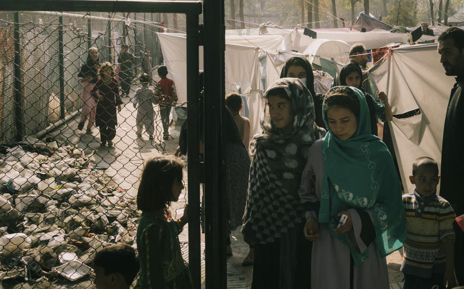 A park in central Kabul has turned into a refugee camp.