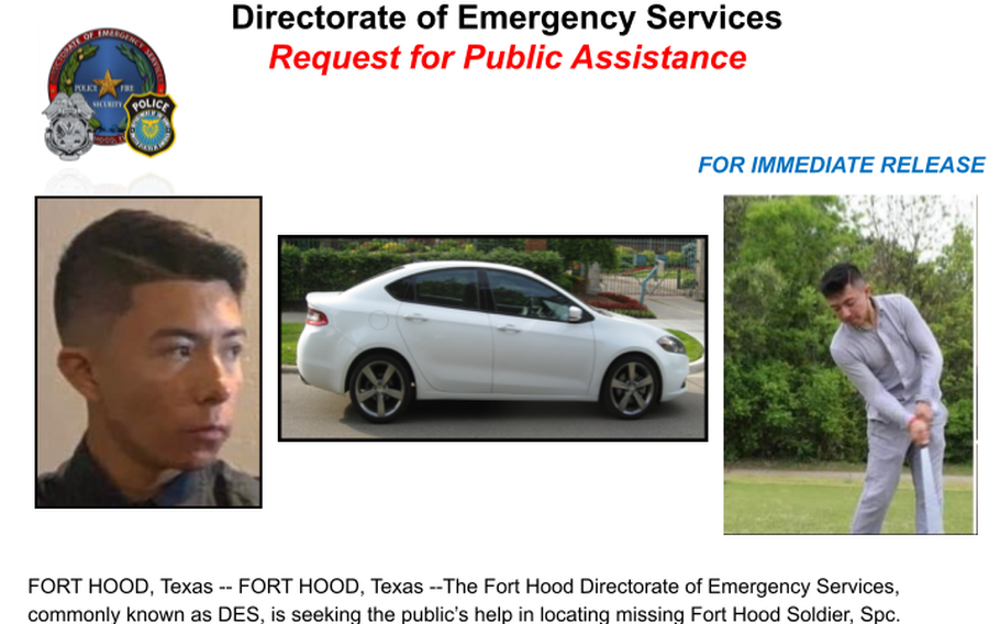 Spc. Abram Salas II was last seen Wednesday at Fort Hood, Texas, and is believed to be in the San Antonio area. Officials at the base are asking anyone with information on his whereabouts to contact Fort Hood military police at 254-288-1170.